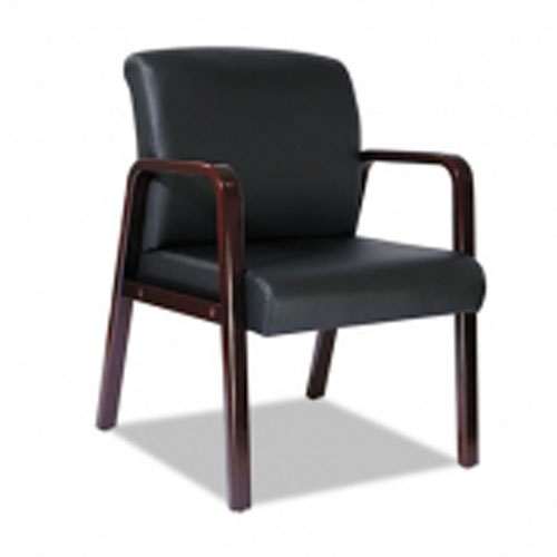 Alera Leather Guest Chair with Cherry Arms & Legs LA