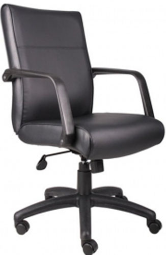 Boss Executive Black Leather Mid Back Office Chair B686