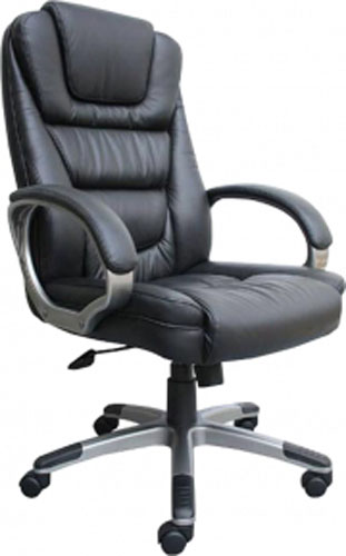 Boss LeatherPlus Executive Chair with Waterfall SeatBlack