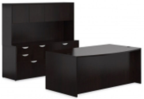 OTG Overhead Hutch & 2 Drawer Bow Front Desk Shell