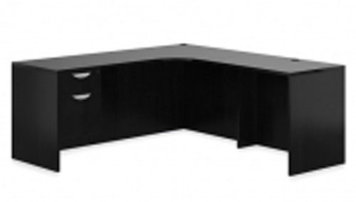 New Curved Corner Credenza & Pedestal Desk LA