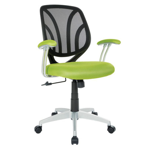 Mesh Back Task Chair with Padded Arms in Green