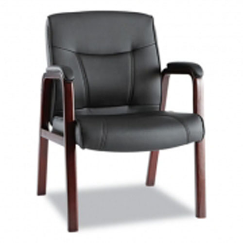 Madaris Series Black Leather Wooden Guest Chair