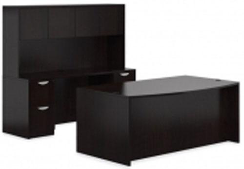 New Global Laminated BBF Pedestal Bow Front Desk