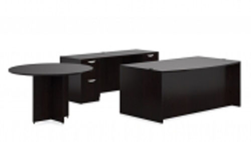 Round Table & Bow Front Desk with Knee Space